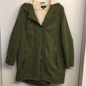 EUC Ellos Olive Green Long Winter Coat